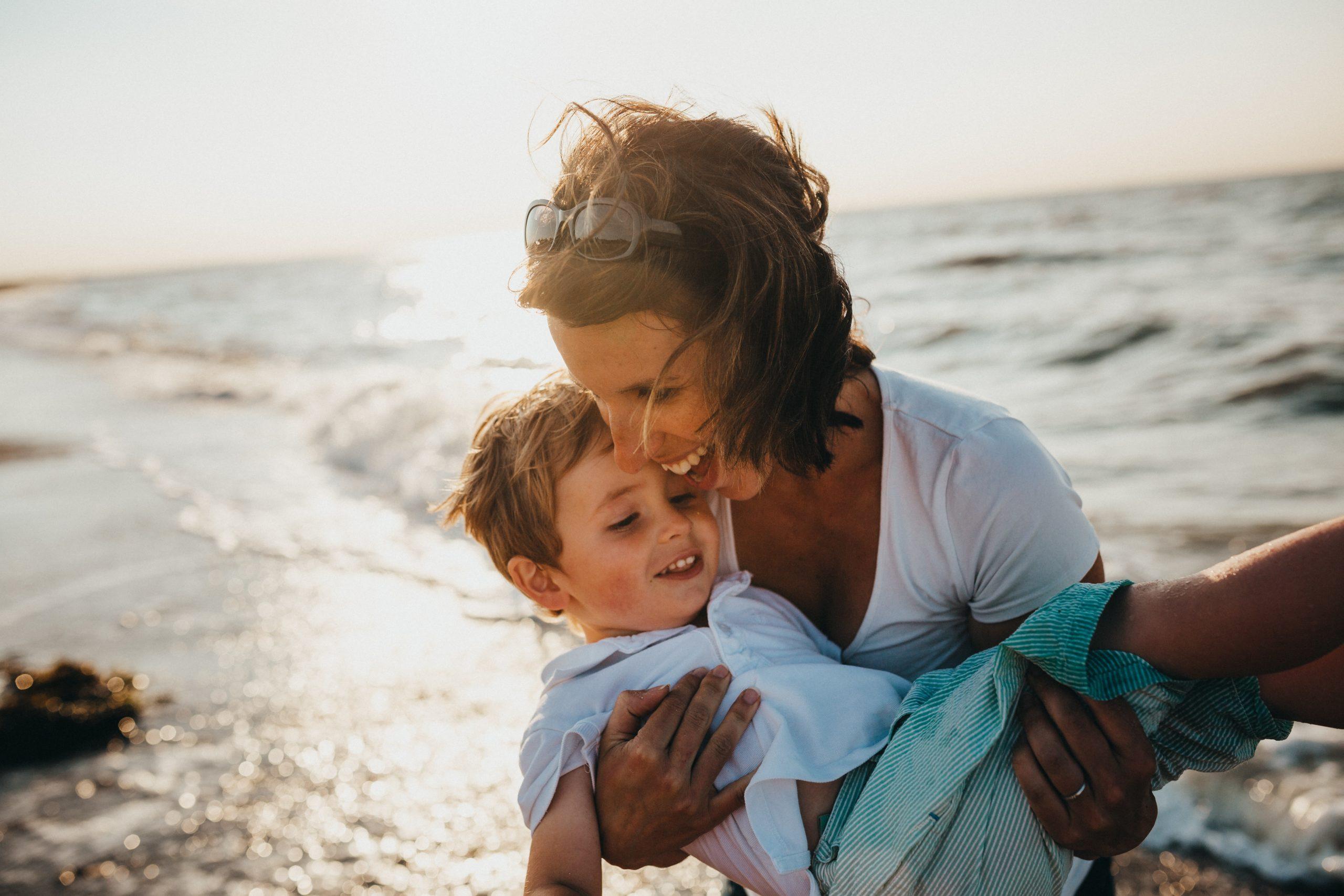 Mum and child at the beach